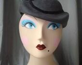 Babette Cap Fascinator Hat in Fur Felt Velour..your choice of color