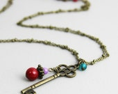 Locked Away - Beaded Antique Brass Key Charm Pendant Necklace  Red Lilac Purple Teal Beaded Cluster Inspired by Cinderella