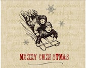 Christmas digital download image transfer Children Sledding Snowflakes for iron on fabric burlap tote bag pillow decoupage tags No. 310