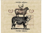 Paris digital download French ephemera animal cow sheep chicken stack for Iron on fabric transfer paper burlap pillows tote bags No. 469
