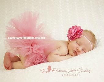 Rose Pink Baby Tutu Pink Newborn Tutu Sweet Rose Petals Tutu Pink Tutu And Headband Pink Tutu Set Cake Smash Tutu Set Newborn Photo Prop