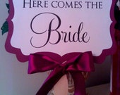 Here Comes The Bride Sign - Ribbon Hanger or Paddle Handle