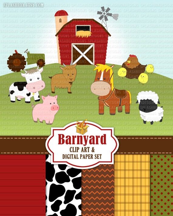 Barnyard Animals Clip Art Barn Clip Art Set Farm Clip Art - cow, goat, pony, sheep, chicken, tractor, barn  (personal or commercial use)