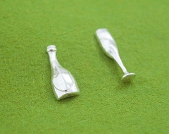Champagne earrings - Bottle & glass - Asymmetrical pierce - post earrings - Wabi sabi design - texture finish