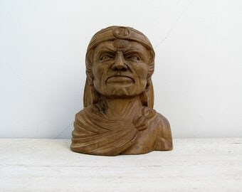 Wood Chief Bust Statue Vintage, Indian Head Figurine, Handcarved Face Sculpture Tribal, Native American Head Statue, Man Cave Western Bar