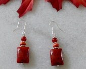 Apple coral and spiny oyster shell earrings