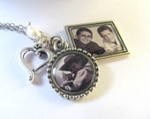 "Photo Necklace, Two Photo Pendants on 18"" Chain, Top Seller, Photo Jewelry"
