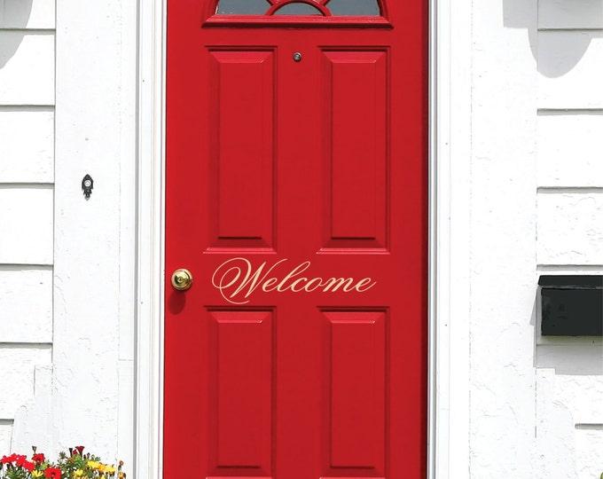 Welcome Door Decal // Small Decal // Vinyl Wall Lettering // Wall Vinyl Art // Front Door Decals
