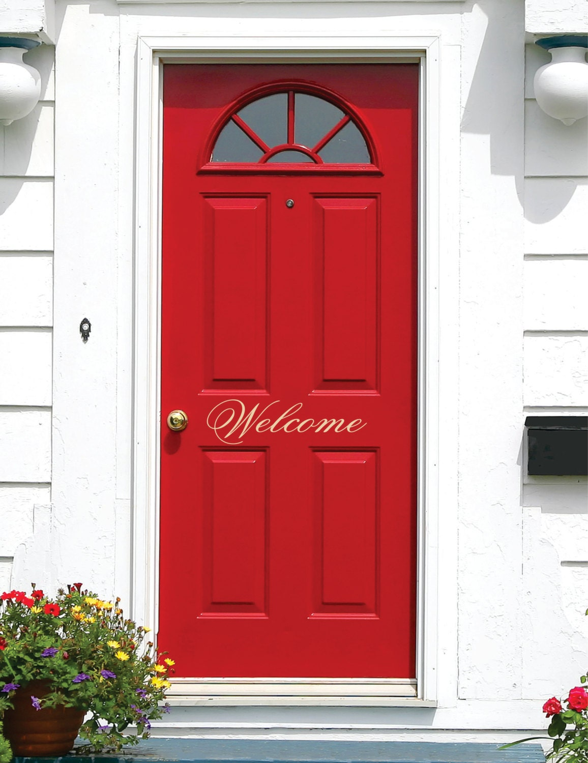 Welcome door decal small decal welcome vinyl lettering for for Door vinyl design