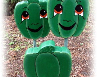 Green Bell Pepper - Double Sided Wooden Garden Personality Plant Marker -Gift for the gardener