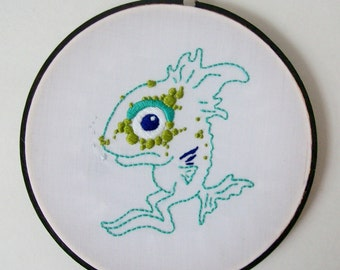 Hand Embroidered Original Monster Creature Art Hoop 6""