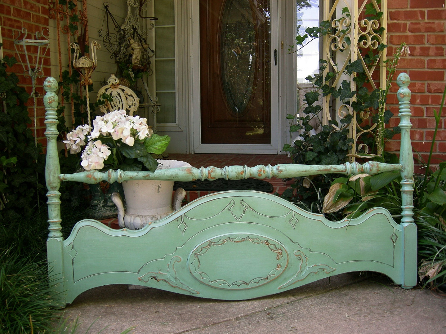 Aqua Shabby Old Headboard Chic For Queen Or Full Beds Solid