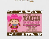 Printable Cowgirl Invitation and Cupcake Topper Set