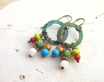 Multi Stone Dangle Earrings. Multi Color Semi Precious Stone Cluster Earrings. Verdigris Jewelry. Rustic Earrings. Colorful Jewelry