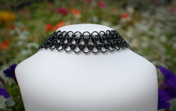 Japanese Lace Reversible Black and Silver Choker Collar- Ready To Ship