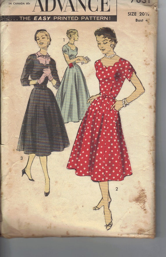 BF Sale 20% Off    Vintage 1950's Advance Sewing Pattern 7831. Women's Dress, Size 20 1/2