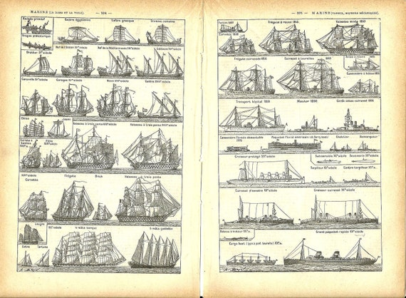 1930s - BOAT SHIP 2 French Dictionary pages print