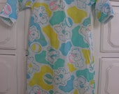 SALE ...... Vintage Little Wonders Pajama Dress / 0-18 Months / Newborn / Yellow / Blue / Bear