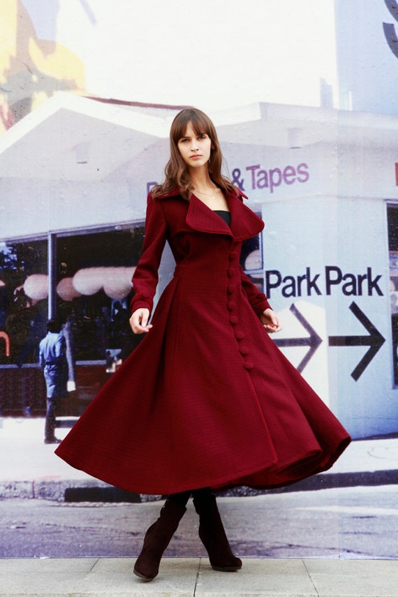 Wine Red Dress Coat Big Sweep Women Wool Winter by ...