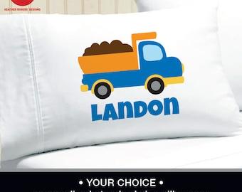 Dump Truck Pillowcase -  Boys Personalized Dump Truck Pillow case - Standard Personalized Pillow case