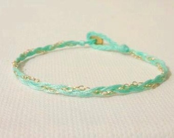 louis. modern braided delicate gold filled chain layering friendship bracelet