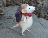 Autumn Little Backpackers -  needle felted ornament animal, felting dreams