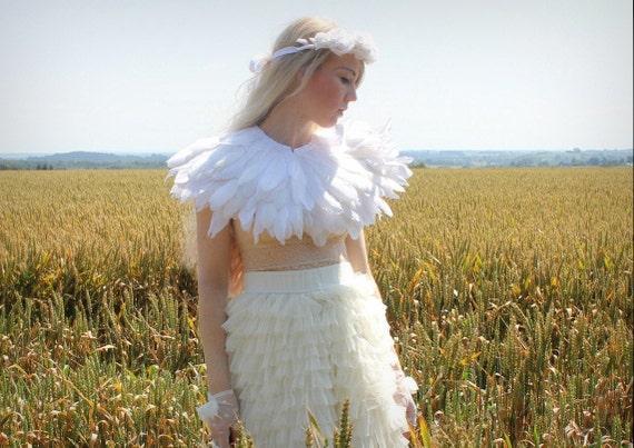 White feather shrug, white cape, wedding feather capulet