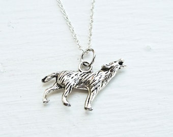 Wolf Necklace- Nature Animals- Woodland Charm Jewelry- 925 Sterling Chain- Rustic Wedding- Love- Fashion Trends- Under 20