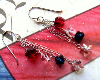 Patriotic Earrings, Fourth of July Earrings, July 4th Earrings, Red, White, Blue Earrings, Swarovski Earrings, Star Earrings, Chain Earrings