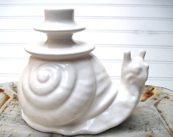Candle holder ceramic snail white Italian vintage large unusual garden decor
