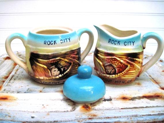 Vintage cream and sugar Rock City Georgia turquoise souvenir