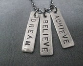 DREAM BELIEVE ACHIEVE - Inspirational and Motivational Necklace on 18 inch gunmetal chain - 2016 Olympics Jewelry - Fight for it - Dream Big