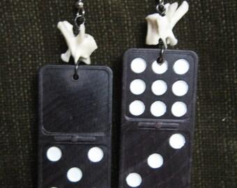 Unusual Domino and Squirrel Bone Earrings