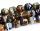 10mm Picasso Czech Glass beads mix, Earthy colors round beads, brown, olive green, red, black, fre polished - 10Pc - 0275