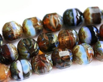 Picasso Czech Glass beads mix - brown, olive green, red, black - earthy colors - 10mm - 10Pc - 0275