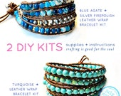 wrap leather bracelets -  2 diy kits: leather wrap bracelets with turquoise beads, blue agate beads supplies & tutorial instructions