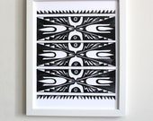 Black and White Pattern Art Print: 8x10 abstract watercolor painting