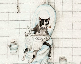 Cat reading newspaper on the toilet - Art Print of watercolor painting 8x10- open edition print- DO NOT DISTURB, sign, cute