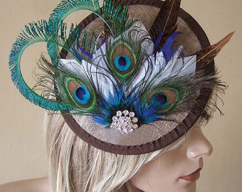 Gold Peacock Browns and White Feathered and Crystal Saucer Fascinator Hatinator Hat - Ascot MN171 - Mother of the Bride Groom Winter Wedding