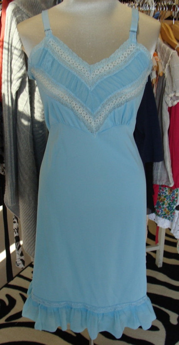 aqua blue VINTAGE SLIP or maybe a dress for the more daring 1970's M