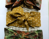 NEW French Autumn Style Scarf Tie Hair Bow (PICK ONE)