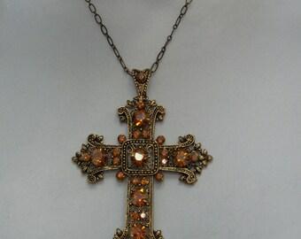 Gothic Renaissance - Antique Gold Cross Crystal Copper Pendant Necklace 5201xn