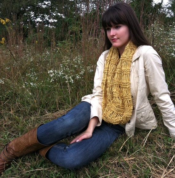 Gold Autumn Infinity Scarf, Yellow Fall Drop Stitch Scarf