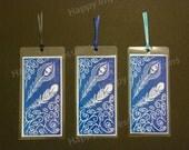 Victorian Feather - Rectangle Bookmark - Dark Blue