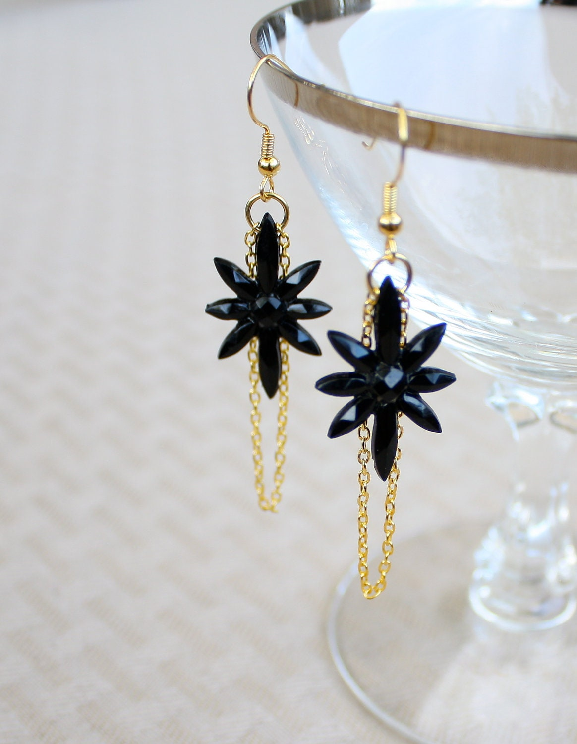 Vintage Star Earrings Black Starburst with Gold Chain by Montrigue