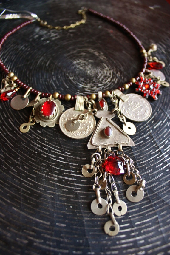 RESERVED- Tribal Assemblage Necklace- Turkoman Ruby- Red Rhinestones and Beads