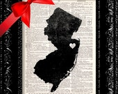 BOGO I Heart New Jersey - State Map - Map Art Print Personalized - Vintage Dictionary Print - Book Print Page Art  Vintage Book Art