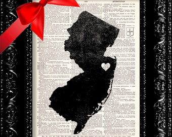 I Heart New Jersey - State Map - Map Art Print Personalized - New Jersey Map - Dictionary Print - Book Print Page Art