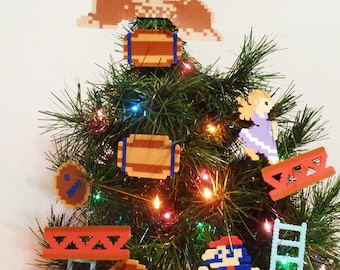 Donkey Kong Perler Bead Christmas Tree Topper and Ornament Set (12 piece)