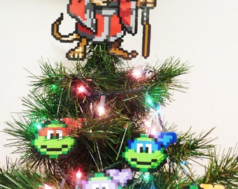 Teenage Mutant Ninja Turtles and Splinter Perler Bead Christmas Tree Topper and Ornament Set (5 Piece) - nintendo